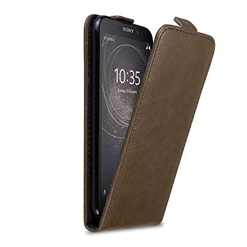 Cadorabo Hülle für Sony Xperia L2 in Kaffee BRAUN - Handyhülle im Flip Design mit Magnetverschluss - Case Cover Schutzhülle Etui Tasche Book Klapp Style