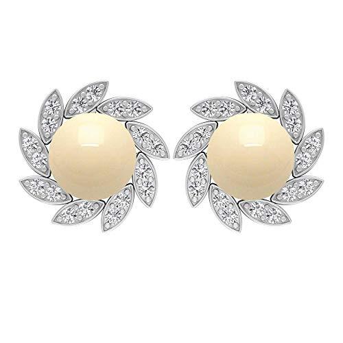 Rosec Jewels 18 quilates oro blanco redonda Perla de cultura japonesa Diamond