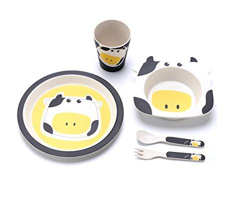 TIENDA EURASIA Vajilla De Bambú Infantil - Set de 5 Piezas - Vajilla de Fibra de Bambú Ecológico - Libre de BPA - Biodegradable - Pack (Plato, Bowl, Vaso y Cubiertos) (Vaca)