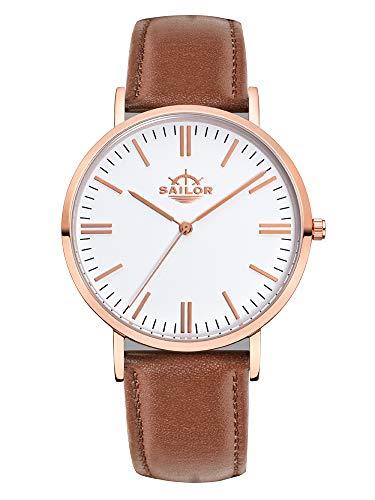 Sailor Armbanduhr Classic Basic brown mit rosègold Lederarmband, Farbe Ziffernblatt:weiß, Durchmesser:36mm