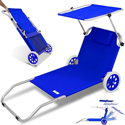Kesser® Strandliege Alu mit Dach klappbar 2 Räder, verstellbare Rückenlehne, Sonnenliege Sonnendach, bis 120 kg, Gartenliege Strandrolli Liege Klappliege, Blau