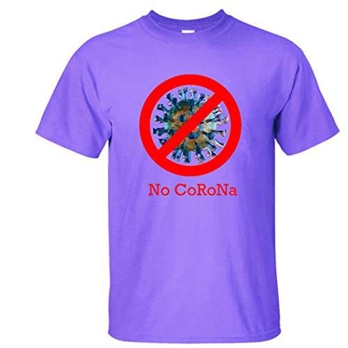 GGPUS No Corona, Nouveau Virus Anti-epidemique, Dessin Animé, Design Covid-19, Manches Courtes Tendance, T-Shirt, 2 Pezzi,Viola,M