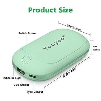 YOOYEE Chauffe-Mains Réutilisable USB Chaufferette Main Power Bank 5200mAh Rechargeable Réchauffeur de Mains Électrique Chauffage Double Face Rapide Chauffe Main Cadeaux Ski en Hiver Vert