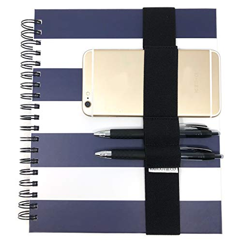 """Black Elastic Band Pen Holders for 8x10"""" Notebook, Journal or Planner- 2 Pen/Pencil Loops and 1 Cell Phone Loop 1 1/2 inch Wide Thick Premium Elastic. (Black Medium 8x10')"""