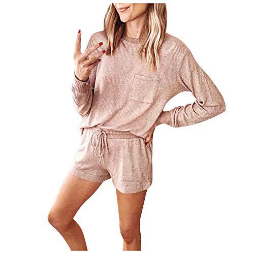Damen Home Wear Set Einfarbiger Jogger Jogging 2-teiliges Set Langärmlige Oberteile + Shorts Lässige Sportbekleidung mit Taschen Fitness-Lauf-Yoga-Anzug(L,Beige)