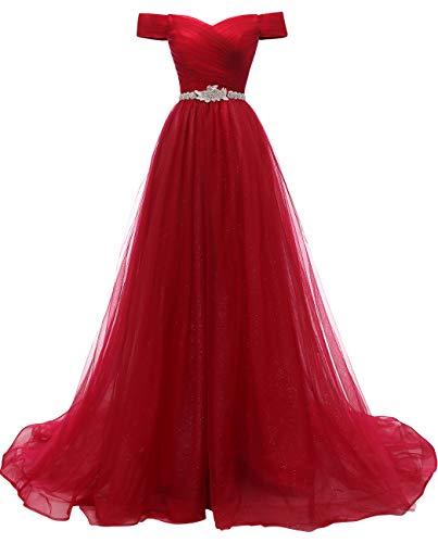 Schulterfrei Abendkleider Tüll Prinzessin Lange Party Ballkleider mit Gürtel 2018 Rot Größe 44