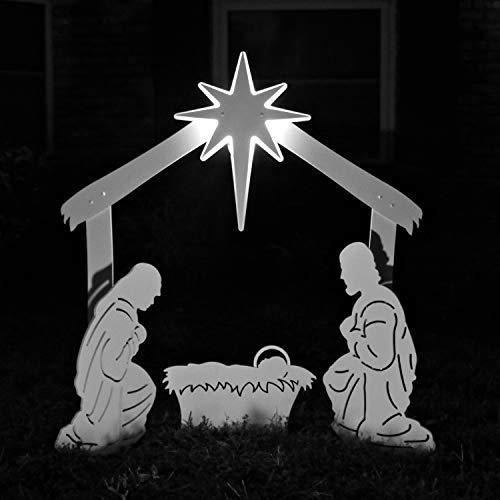Teak Isle Holy Family Nativity Lit Star Outdoor Set   Weatherproof Nativity Scene for Yards and Lawns