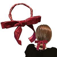 Vintage Elegant Ribbon Hair Bowknot, Black Satin Large Hair Bow, Big Bow Hairpin, Lazy Hair Twister, for Women Girls Headdress Hair Accessories (red)