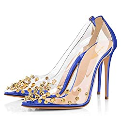 Rhinestone Studded Pointy Toe Mid Spike Heels In Royal Blue