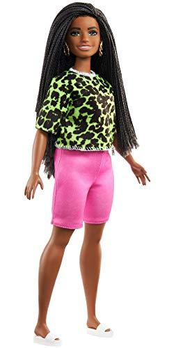 Barbie GHW58 - Barbie Fashionistas Puppe 144 (brünett) mit grünem Oberteil im Neon-Look