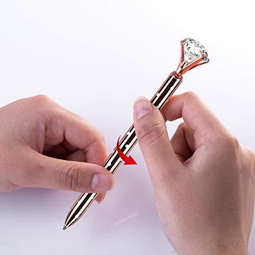 5 PCS Big Crystal Diamond Ballpoint Pen,HabiLife Metal Ballpoint Pen Office Supplies,Gold Pens with 5 Ballpoint Pen Refills, 1 Black Velvet Bag, Black Ink Photo #4