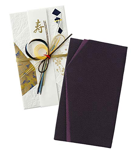 珠音 【 慶弔 両用 】ふくさ 袱紗 紫 黒 【 日本製 】 金封 ちりめん 男性 女性 結婚式 香典 (紫+青祝儀袋)