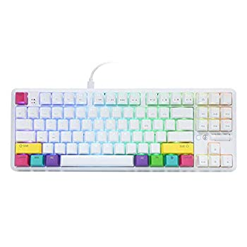 EPOMAKER Ajazz K870T 87 Keys Bluetooth Wired/Wireless Mechanical Keyboard with RGB Backlit Type C Cable 2000mAh Battery NKRO for Gamer  Ajazz Red Switch White