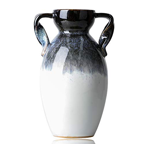 TERESA'S COLLECTIONS Binaural Keramik Vase 26.5cm Porzellan Blumenvase Vase Dekoration Moderne Farbverlauf Tischvase mit Zwei Ohren als Hauptdekoration Ornamente für Wohnzimmer Tisch