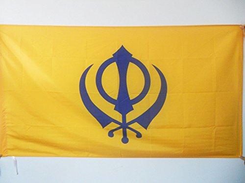 AZ FLAG Flagge SIKHISMUS 150x90cm - Sikh-Religion Fahne 90 x 150 cm Scheide für Mast - flaggen Top Qualität