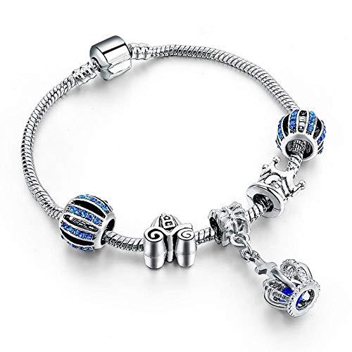 NA Armband SchmuckBlaue Krone Armbänder Für Frauen DIY Charm Armbänder Armreifen Silber Pulseira Masculina