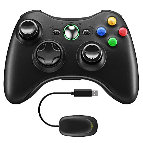 Molyhood Controller for Xbox 360, Wireless 2.4GHz Improved Dual Vibration Gamepad Joystick with Receiver for Xbox 360 / PS3 / PC Windows 7/8 / 10
