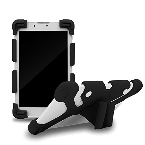 Sinbadteck Universal 7-8  Shockproof Silicone Cover Case Stand for RCA 7  Voyager II 1st Gen,iPad Mini,Kindle,Q8,Galaxy Tab,Verizon Asus Google Dragon Touch &Other 7-8inch Tablets(7-8 , Black)