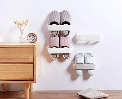 E-Meoly Wall Mounted Shoes Rack Home Shoe Shelf Plastic for Entryway Over the Door Shoe Hangers Organizer Hanging Shoe Storage Racks, 4pcs Pack (White Replacement)
