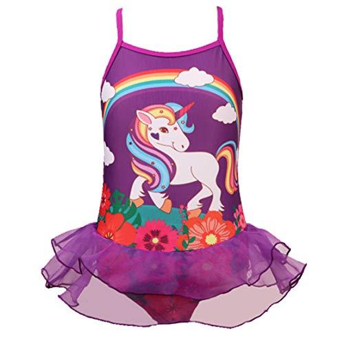 Traje de Baño Unicornio Flores Bañador Niña de Una Pieza para Niñas Bañador de Natación Vacaciones Playa