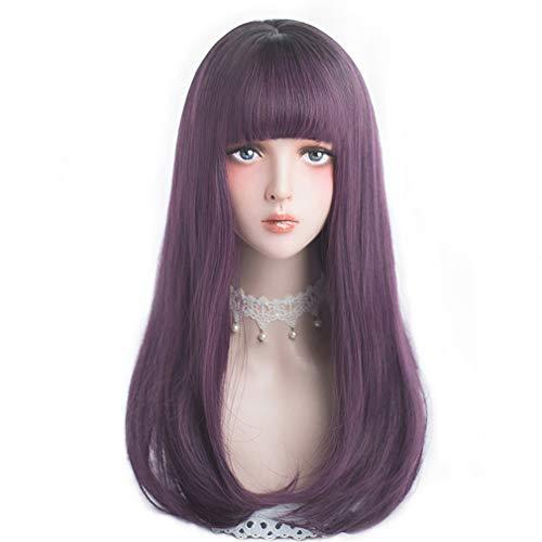 Alice Garden コスプレ ウィッグ カツラ フルウィッグ 可愛い カコイイ 耐熱 ネット付 (紫(頭頂部が黒になっています))