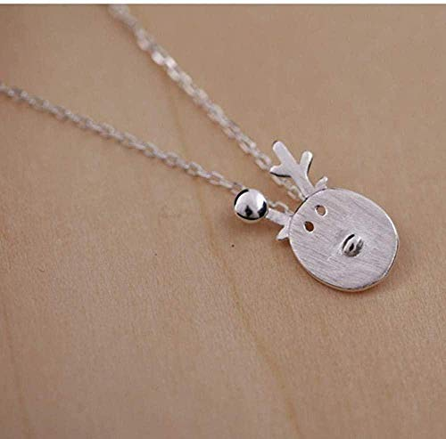 quanjiafu Necklace Silver Pendant Necklace for Women Fashion Jewelry Comes with Gift Box Holiday Or Birthday Present for Women and Girls-Simple Reindeer Necklace