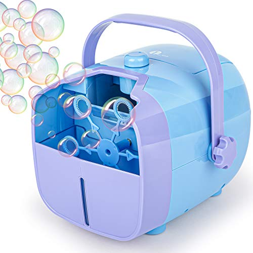 1byone Automatic Bubble Blower Machine for Kids, 2000 Bubbles per Minute, Portable for Outdoor/Indoor Use, Operated by Plug in or Battery