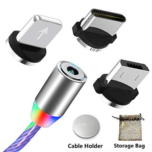 Micro USB Typ C Ladekabel Magnetisch 3 in 1 Schnellladekabel, Mehrfarben LED USB C Kabel für Fließende Ladegeräte für Telefon Android i-Produkte (keine Datenübertragung)