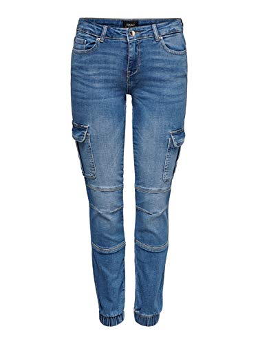 ONLY Damen Cargo Hose Denim - Missouri Ankel Jeans Pant blau, Farbe:Blau, Damenhose:S-L32