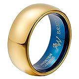 AW BRIDAL Anillo de Compromiso de Cúpula Con Tungsteno, Matrimonio Pulido en Oro de 8 mm para Matrimonio, Compromiso, Tamaño22