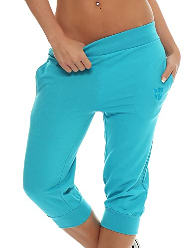 Gennadi Hoppe Damen 3/4 Trainingshose Sporthose Kurze Hose Sport Fitness Jogginghose Shorts Barmuda, türkis,M