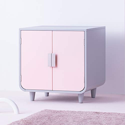 Staart - Decorative Dyad Wooden Cat Litter Box Loo Cat House and Side End Table Furniture Enclosure Cat Home Nightstand Indoor Pet Crate Chablis Pink