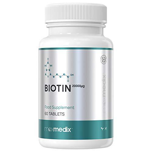 Biotina 20,000 mcg dosis alta Maxmedix - Suplemento vitamínico de...