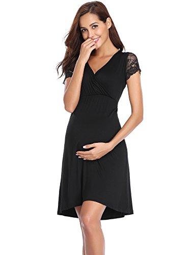 Aibrou Damen Baumwolle Stillnachthemd Umstandskleidung Baumwolle/Kurzarm (Schwarz 1, M)