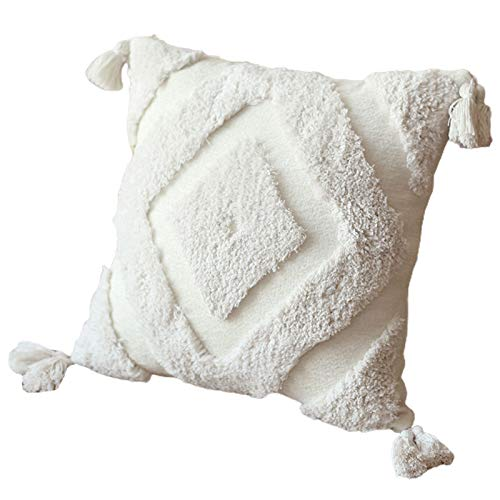 cdhgsh Morocco Fodera per Cuscino Fodera per Cuscino Minimalista con Motivo a Rombi Trapuntato con Nappe Fodera per Cuscino Bianco