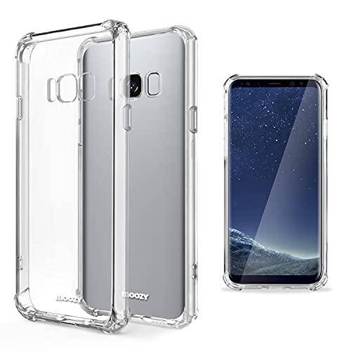 Moozy Transparent Silikon Hülle für Samsung S8 - Stoßfest Klar TPU Hülle Handyhülle Schutzhülle