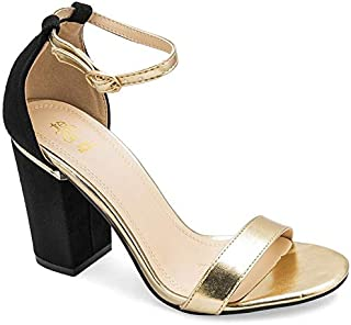 tresmode Women's Dance Gold Casual Ankle Strap Sandals