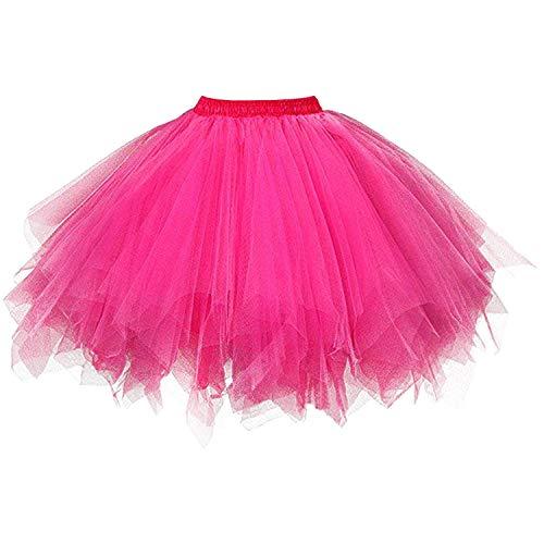 DresseverBrand Damen Petticoat 50er Rockabilly Jahre Retro Tutu Ballet Tüllrock Cosplay Crinoline Fuchsie Small/Medium