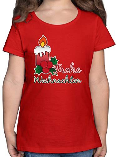 Weihnachten Kind - Frohe Weihnachten mit Kerze und Mistelzweig - 152 (12/13 Jahre) - Rot - Kerze - F131K - Mädchen Kinder T-Shirt