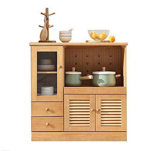 Aparador de sala de estar Microondas Cafetera Misceláneas del gabinete bufé Accent Entrada Bar de almacenamiento de tabla Sala Comedor Alacena de cocina ( Color : Wood , Size : 85x42x85cm )