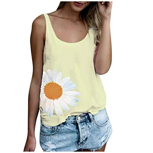 ZHANSANFM Damen Mode Sunflower Print Tank Top Sommer Frauen Neue ärmellose Freizeit-Sportweste Bluse Weste Plus Size Rundhalsausschnitt Ärmelloses T-Shirt Top Tank (S, Gelb-6)