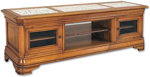 Destock Meubles Meuble TV/Hifi bas LCD-plasma Merisier plateau marbre