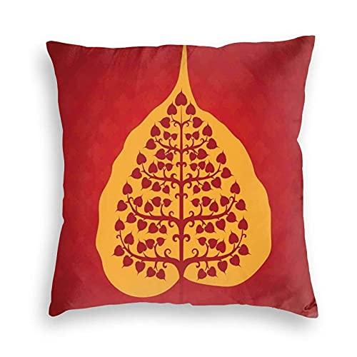 Funda de cojín personalizada, diseño artístico de Bodhi Tree Nature y Antigua Yoga Meditation, funda de cojín personalizada, para sofá, oficina, cuadrado, 45,7 x 45,7 cm