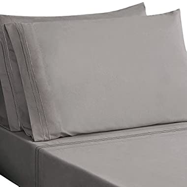 HONEYMOON HOME FASHIONS Microfiber Embroidered Queen Bed Sheet Set, Soft and Luxury, Gray