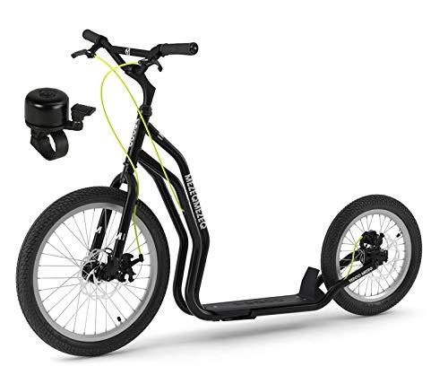 Mezeq RunRun Yedoo Scooter 20/16 Zoll Offroad-Reifen schwarz - Nachfolgemodell des Mezeq New Disc - Tretroller für Erwachsene u. Jugendliche mit Fahrradklingel