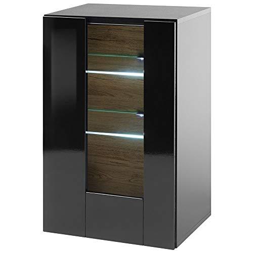 Lomadox Standvitrine, Hochglanz schwarz, LED-Beleuchtung, B/H/T: 45/38/71cm