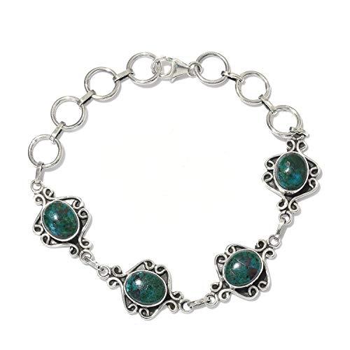Pulseras de plata para mujer,925- Sterling Silver Solid Bracelet Natural ********** Gemstone Bracelet Handmade With Boho Bracelet Cabochon Stone Charm Bracelet