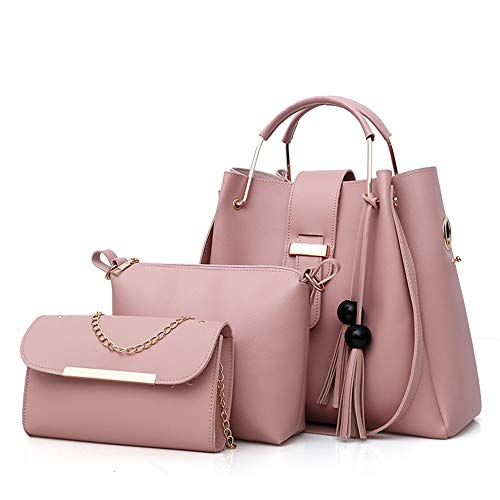 AlwaySky Frauen weiche PU-Leder-Handtasche 3 Stücke Set Tote Schultertasche Clutch Geldbörsen Set Rosa