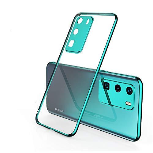 Coque Compatible Huawei P40 pro Souple TPU Gel Silicone Crystal Transparente Fleur Motif Ultra Mince Anti Choc Protection Étui Housse Huawei P40 pro (verde)
