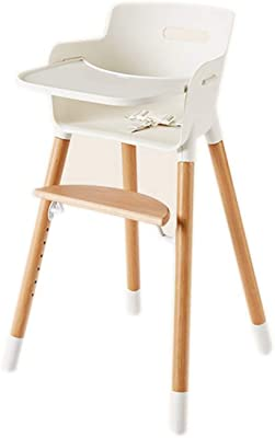 WY&XIAN Highchairs Baby Dining Table Chairs Solid Wood Multifunctional Adjustable Seat with Backrest Practical Fashion (Color : White, Size : Large)